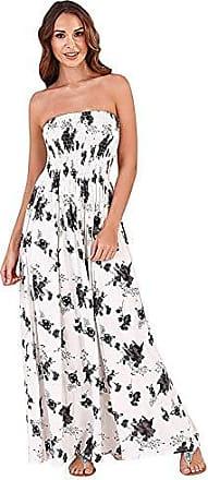 e28bef1873aa5f Pistachio Damen Bandeau Paisleymuster Maxi Kleid Sommer NEU komplette Länge  Rock - weiß/schwarz Blumenmuster