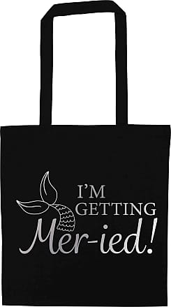 Flox Creative Black Tote Bag Im Getting Mer-ied! Metallic Silver Mermaid Pun
