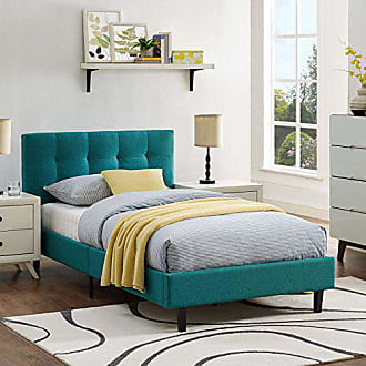 ModWay Modway Linnea Upholstered Teal Platform Bed with Wood Slat Support in Twin