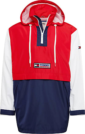 Tommy Jeans Jacke Colorblock Popover rot / navy / weiß