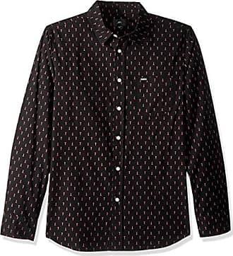 Obey Mens Screw Long Sleeve Woven Shirt, Black/Multi, X-Large