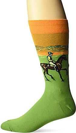 Hot Sox Mens Famous Artist Series Novelty Crew Socks, Race Horse (Mint), Shoe Size: 6-12