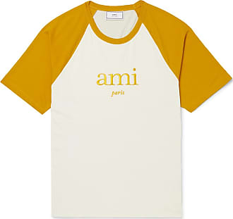 Ami Embroidered Two-tone Jersey T-shirt - Mustard
