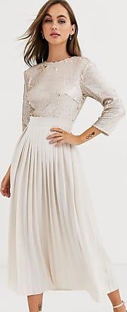 Little Mistress Plissiertes, wadenlanges Kleid mit Pailletten in Creme und Gold-Cremeweiß