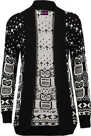 21Fashion New Womens Ladies Owl Print Knitted Long Sleeve Jumper Open Cardigan Size UK 8-22 BLACK UK 12-14 = US 8-10