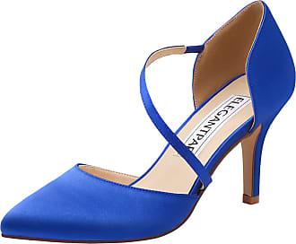Elegantpark HC1711 Women Pointed Toe Stiletto High Heels Court Shoes Straps Wedding Prom Party Bridal Shoes Royal Blue UK 3(EU 36)
