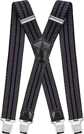Decalen Mens Braces with Very Strong Metal Clips Wide 4 cm 1.5 inch Heavy Duty Suspenders One Size Fits All Men and Women Adjustable and Elastic X Form (Grey