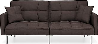 Best Choice Products Living Room Convertible Linen Fabric Tufted Splitback Futon Couch Furniture w/ Pillows - Brown