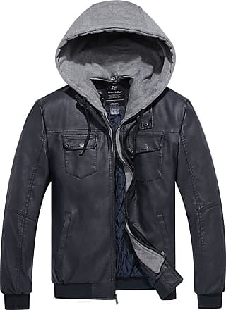Wantdo Mens Leather Jacket with Hood Navy Medium