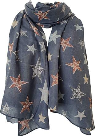 GlamLondon Star Print Scarf Large Size Fashionable Printed Stars Women Wrap (ZU8214 - BLUE)