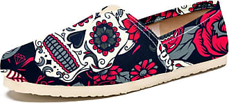 Tizorax Day of The Dead Sugar Skull with Floral Mens Slip on Loafers Casual Canvas Shoe Flat Boat Shoes