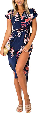 Yoins Summer Dresses Floral for Women Self-tie V-Neck Short Sleeves Split Casual Long Skirt Maxi Dresses Navy