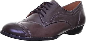 Justin Reece Womens All Leather Lace up Oxford Brogue Cuban Heel (38 EU, Olive)