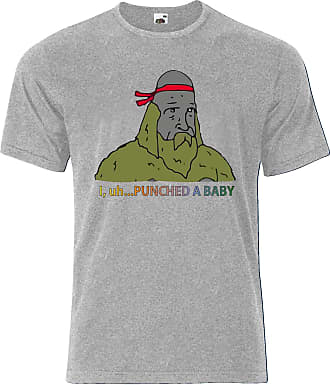 Gildan Donny Sasquatch The Big Lez Show I punched a Baby Mens Tee Shirt Top - Grey - 19 inches - Medium