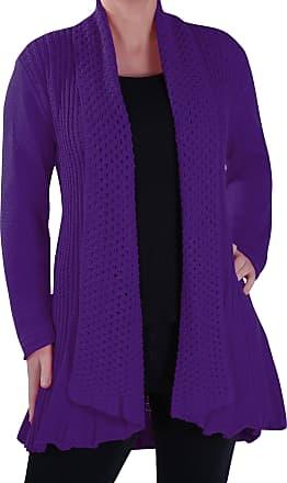 Eyecatch Vienna Open Front Crochet Knit Draped Waterfall Cardigan One Size Purple