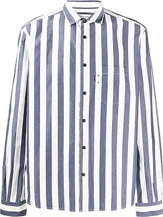Ymc You Must Create Camisa listrada azul de algodão
