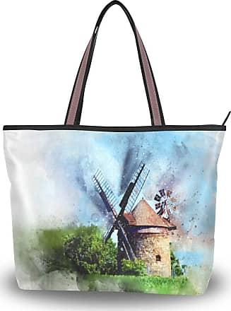 Lorona Women Tower Windmill Watercolor Green Canvas Shoulder Hand Bag Large Capacity Tote Bag
