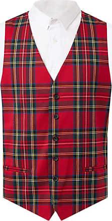 Dobell Mens Red Tartan Waistcoat Slim Fit-S (34-36in)