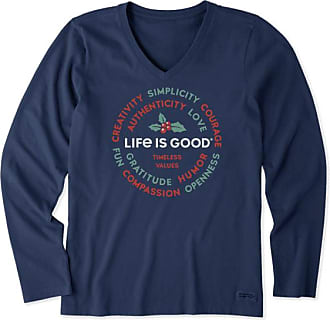 Life is Good Girls Holiday Long Sleeve Crusher T-Shirt Purr Love Holiday