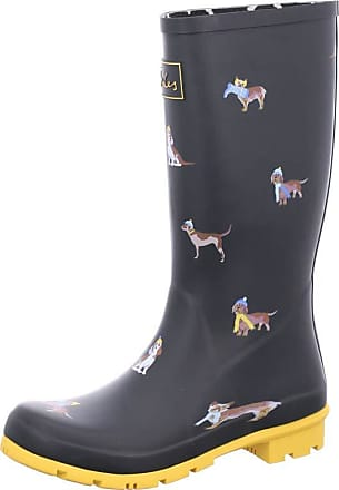 Joules Roll Up Welly Womens Wellington Boots UK 5 Black Dogs