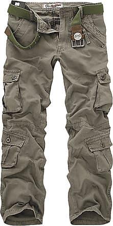 OCHENTA Mens Military Wild Combat Loose Cotton Cargo Multi-Pocket Pants with 8 Pockets 02 Grey Green 31