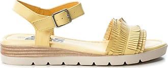 Refresh Amarillo Yellow Fringe Strap Low Wedge Heel Open Toe Sandals 69748, UK 5 / EU 38