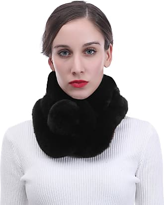 Lina & Lily Unisex Winter Fur Collar Scarf with Pom Soft Fluffy (Black)