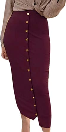 huateng Womens Muslim Fashion Multicolor Long Skirts Breasted Knit Skirts Stretch Pencil Skirt