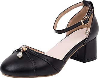Mediffen SUCREVEN Women Casual Block Heel Sandals Ankle Strap Mid Heel Sandals Closed Toe Beaded Sandal Black Size 4.5 UK/38