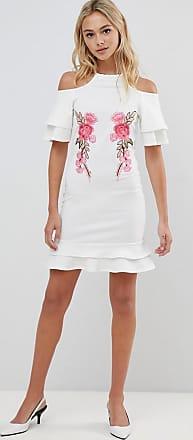 Urban Bliss Vestito con spalle scoperte e applicazione-Bianco