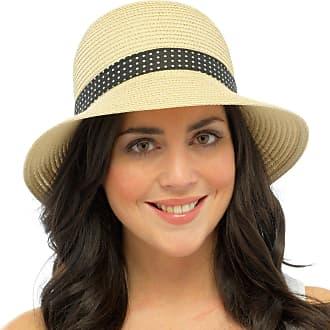 Tom Franks Ladies Dress Hat with Brim Polka Dot Ribbon Band Bow Summer Sun Paper Straw S/M