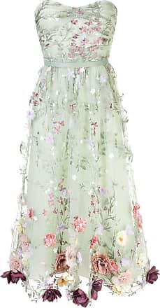 Marchesa floral appliqué midi dress - Green