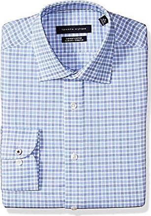f9c45849 Tommy Hilfiger Mens Dress Shirt Slim Fit Stretch Check, Blue Velvet, 15.5  Neck 32