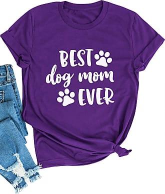 Dresswel Women Best Dog Mom Ever T-Shirt Mum Shirt Short Sleeve Tee Shirts Tops Purple