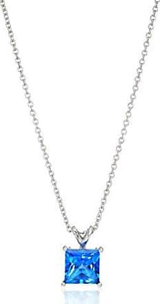 Amazon Collection Platinum-Plated Sterling Silver Princess-Cut Kashmir Blue Swarovski Topaz Gemstone Pendant Necklace