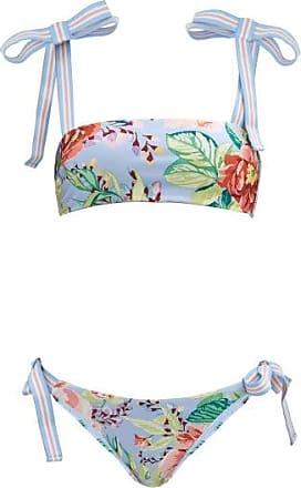 Zimmermann Bellitude Stripe-tie Floral-print Bikini - Womens - Blue Print