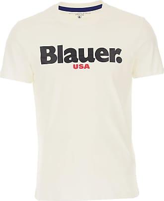 Blauer T-Shirts für Herren, TShirts Günstig im Outlet Sale, Weiss, Baumwolle, 2019, M S XXL