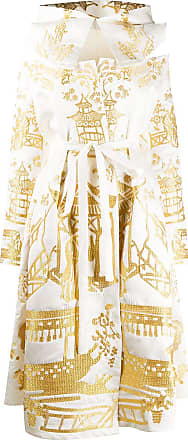 Yuliya Magdych metallic embroidered hooded dress - White