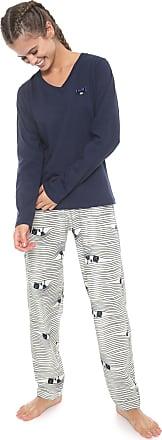 Pzama Pijama Pzama Estampado Azul-marinho/Off-white