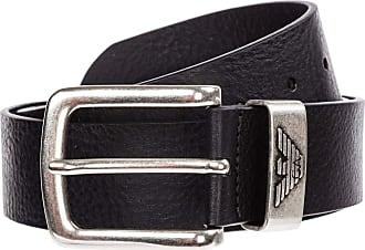 Emporio Armani Armani Mens Tumbled Leather Belt 38 inch Black