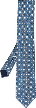 Corneliani Gravata de seda com estampa floral - Azul