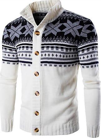 Jeansian Mens Snowflake X-Mas Cardigan Long Sleeve Button Down Knit Sweater Winterwear Jumper 88G4 White XS