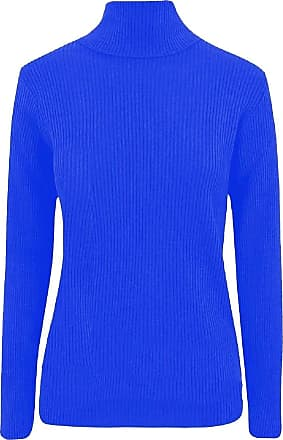 21Fashion Womens Turtle Roll Neck Long Sleeves Ribbed Top Ladies Casual Wear Fancy Jumper Royal Blue X Large UK 16-18