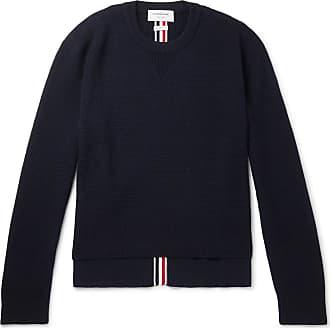 Thom Browne Striped Waffle-knit Merino Wool Sweater - Navy