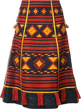 Vita Kin Croatia embroidered midi skirt - Azul