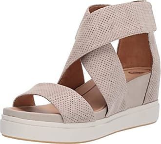 d0258230358b Dr. Scholls Womens Sheena Wedge Sandal Oyster Microfiber Perforated 11 M US