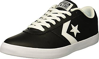 Converse Mens Point Star Leather Low Top Sneaker, Black/White, 8 M US