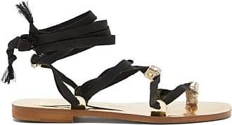 ÁLVARO GONZÁLEZ Tallula Wraparound Metallic-leather Sandals - Womens - Black Gold