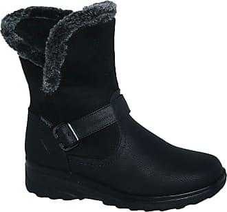 Cushion-Walk Fur Lined Soft Lightweight Flexible Zip Buckle Ladies Boots UK 3-8 (6 UK, Black CK8)