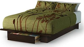 South Shore Furniture Holland Platform Bed with Drawer, Full/Queen 54/60-Inch, Mocha